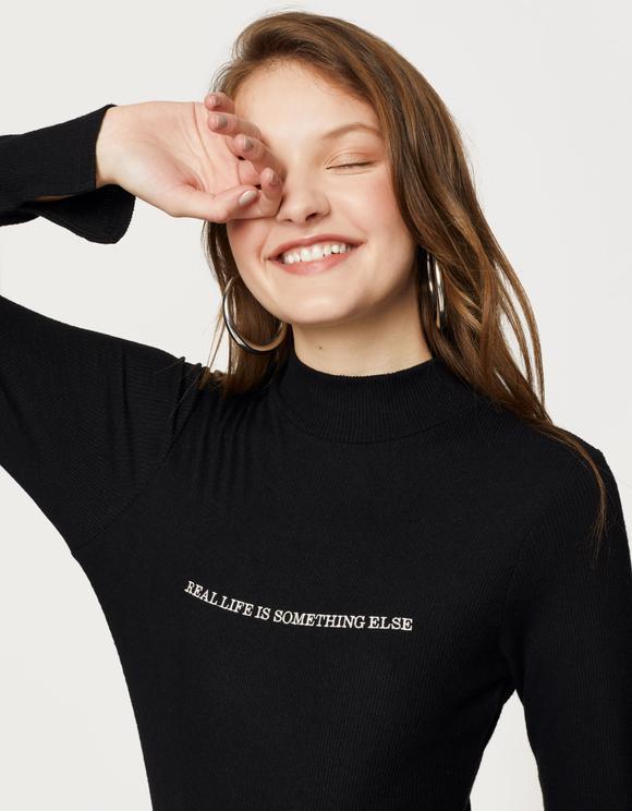 Black Slogan Bodysuit