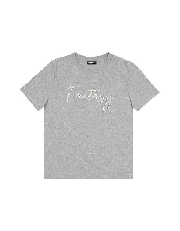T-Shirt Gris Orné de Perles