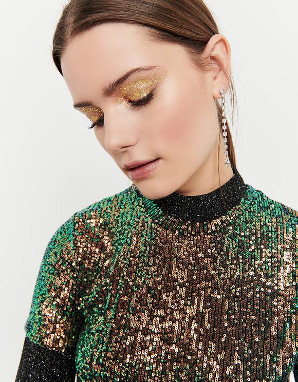 Top con Paillettes Verde e Oro