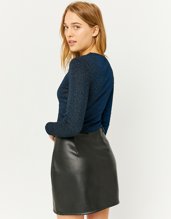 Blue Ruched Front Top