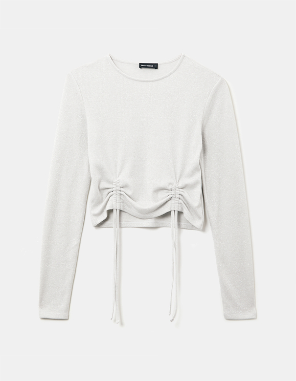 White Lurex Ruched Front Top