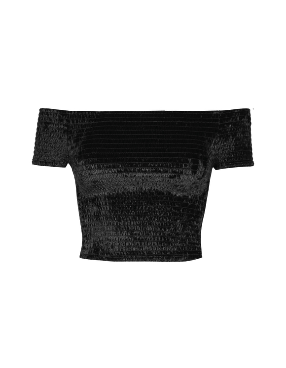 Black Smocked Crop Top