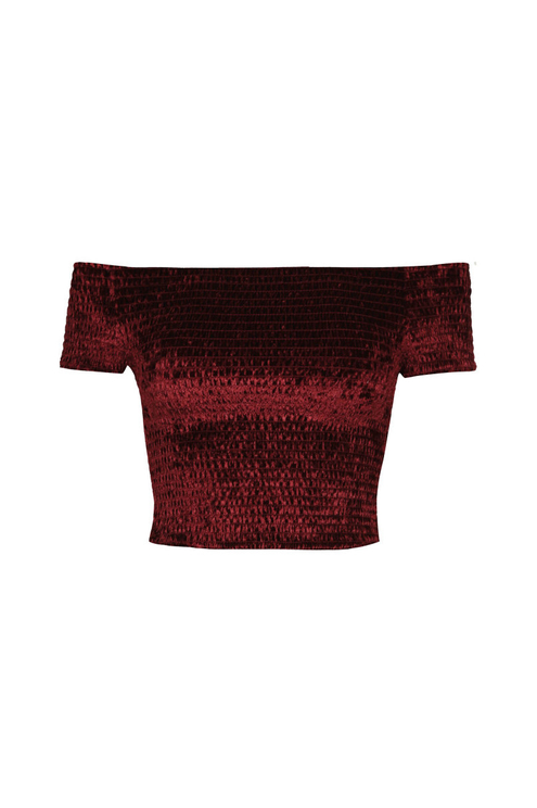 Crop Top Bordeaux Froncé