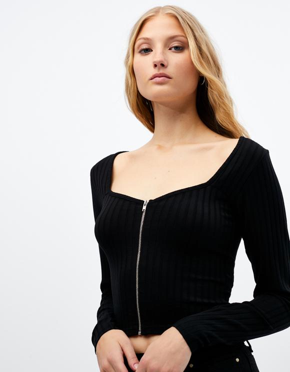 Top Noir Zippé