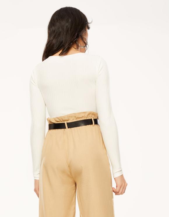 White Zip Crop Top