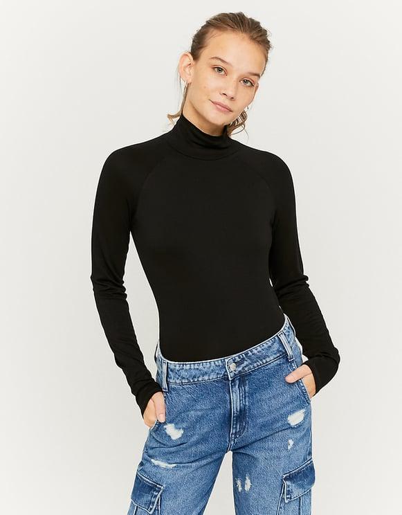 Schwarzes Langarm-Shirt