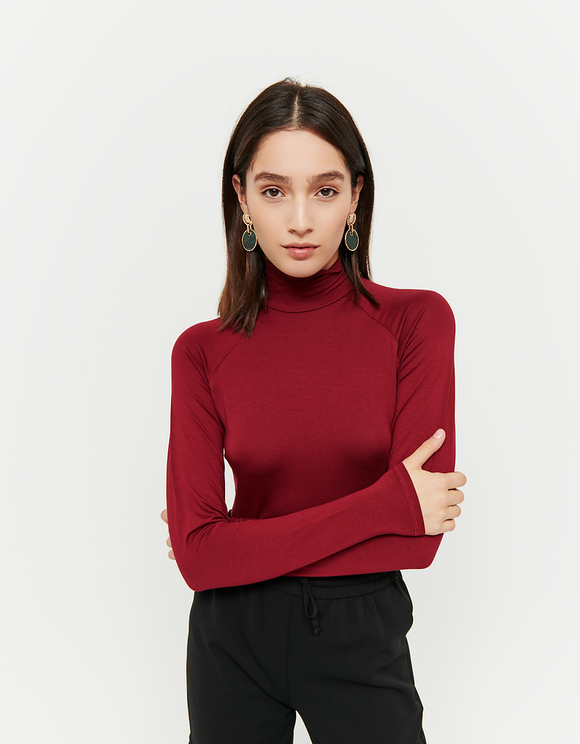 Burgundy Mock Neck Top