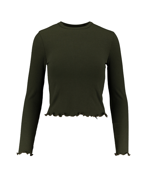 Green Lettuce Hem Top