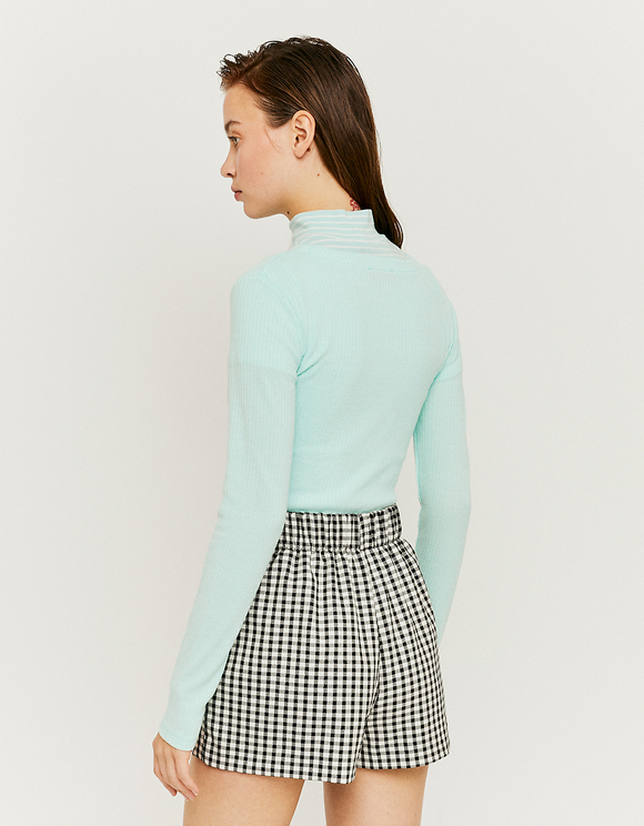 Light Blue Buttoned & Ribbed Top