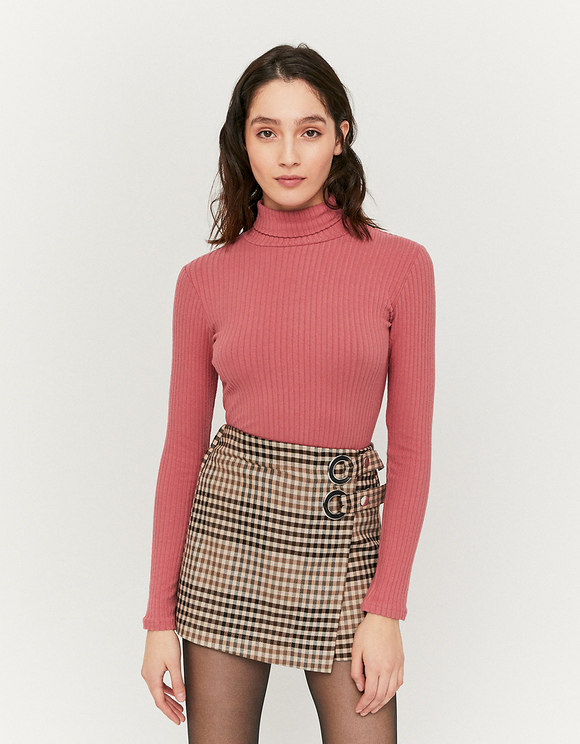 Pink Ribbed High Neck Top