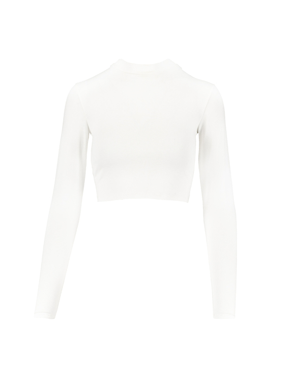 Crop Top Blanc Manches Longues