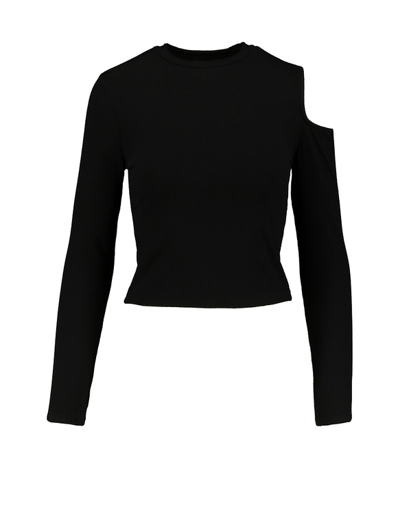 Black Cut out Shoulder Top