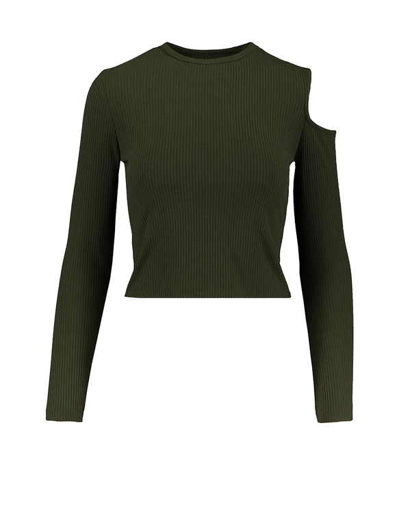 Khaki Cut Out Shoulder Top