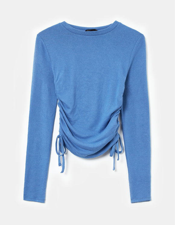 Blue Side Ruched Top