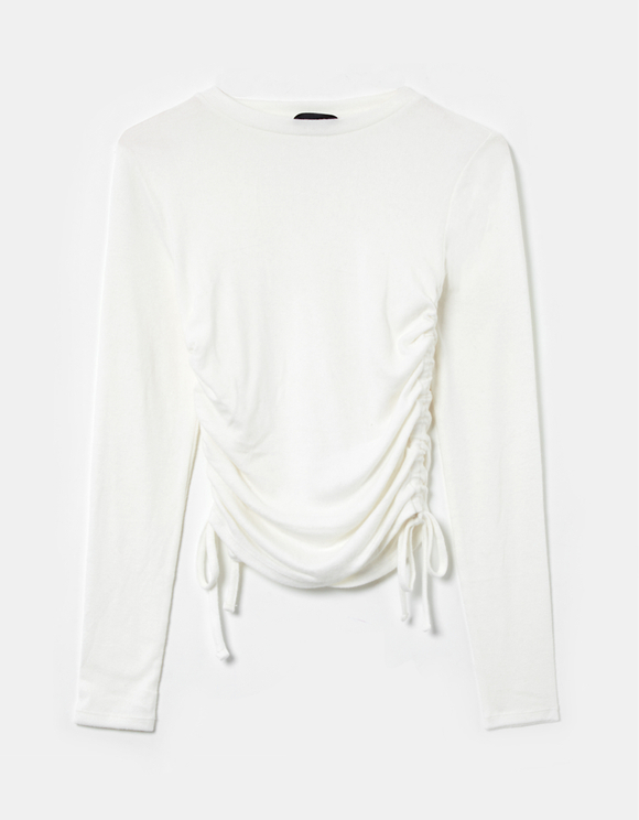 White Side Ruched Top