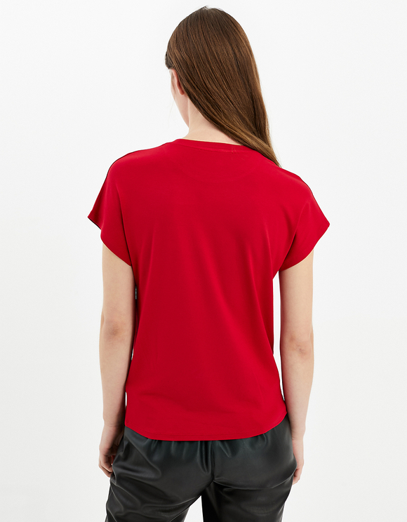 Red Seamless Sleeves Top