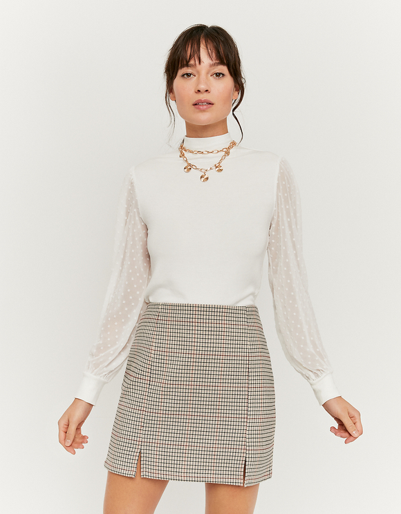 White Mesh Sleeves Top