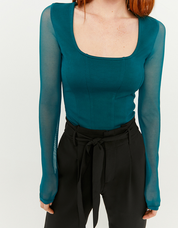 Green Top with Mesh Sleeves