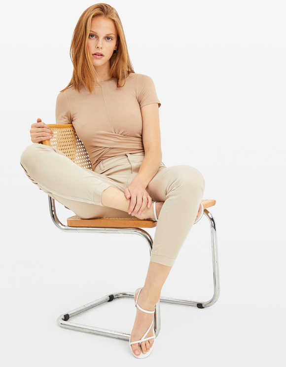 Beige Twisted Top