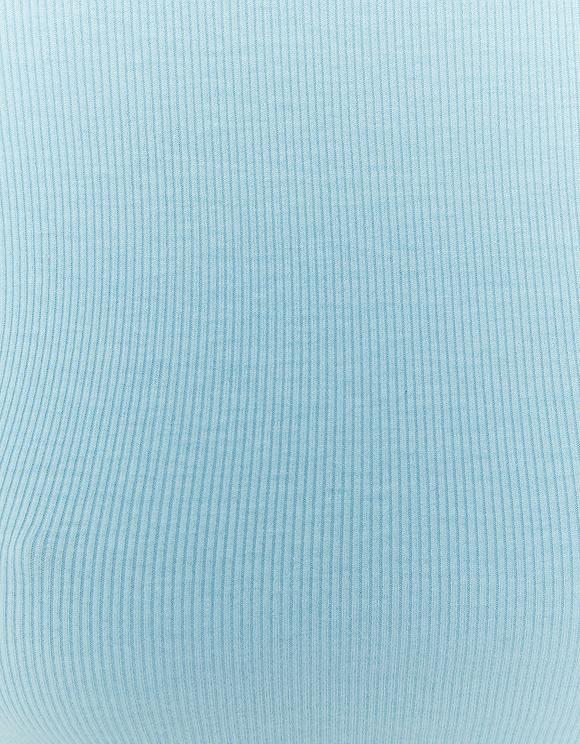 Blaues langärmliges gerüschtes Top