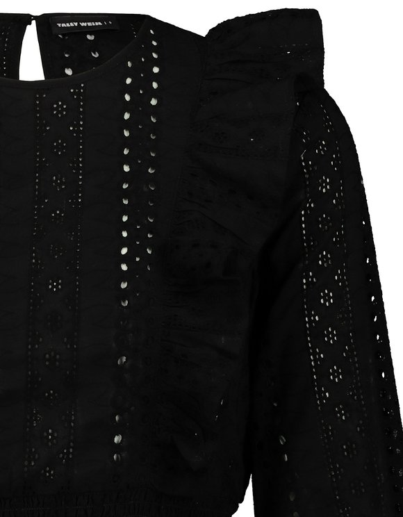 Black Embroidered Blouse with Ruffles