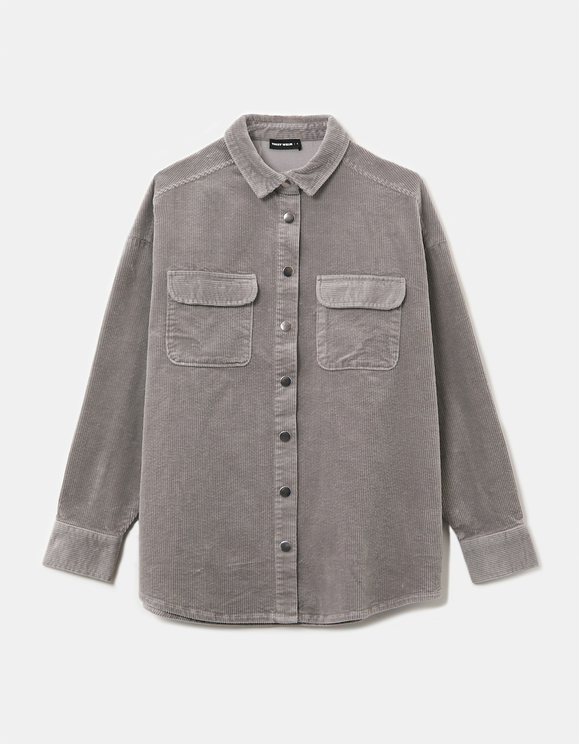 Grey Corduroy Shacket