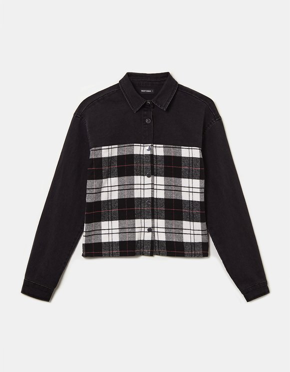 Two-Fabric Check Shirt