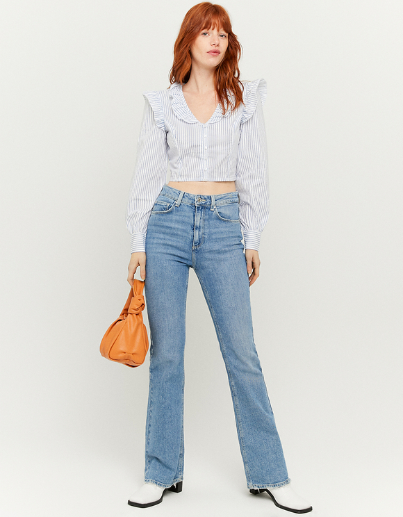Ruffled Cropped Blouse