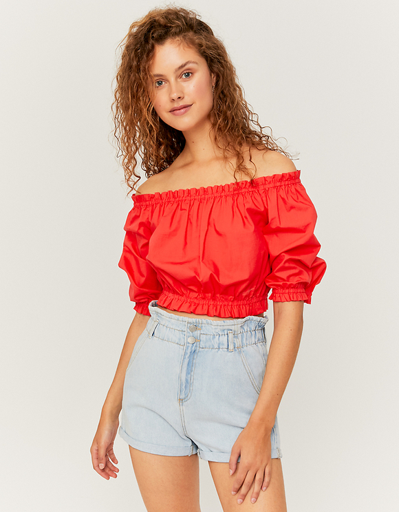 Red Shirred Blouse