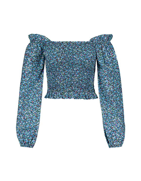 Blue Printed Cropped Blouse