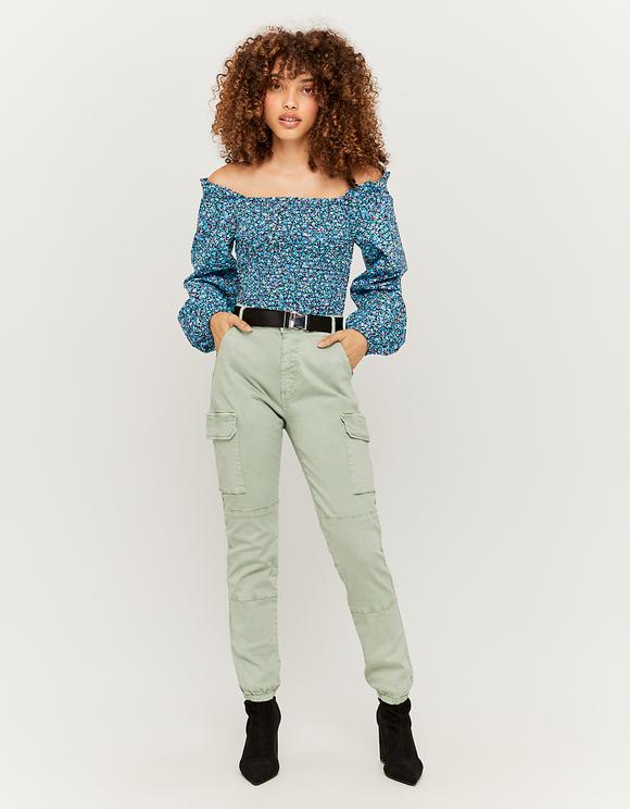 Blaue kurze Bluse mit Aufdruck