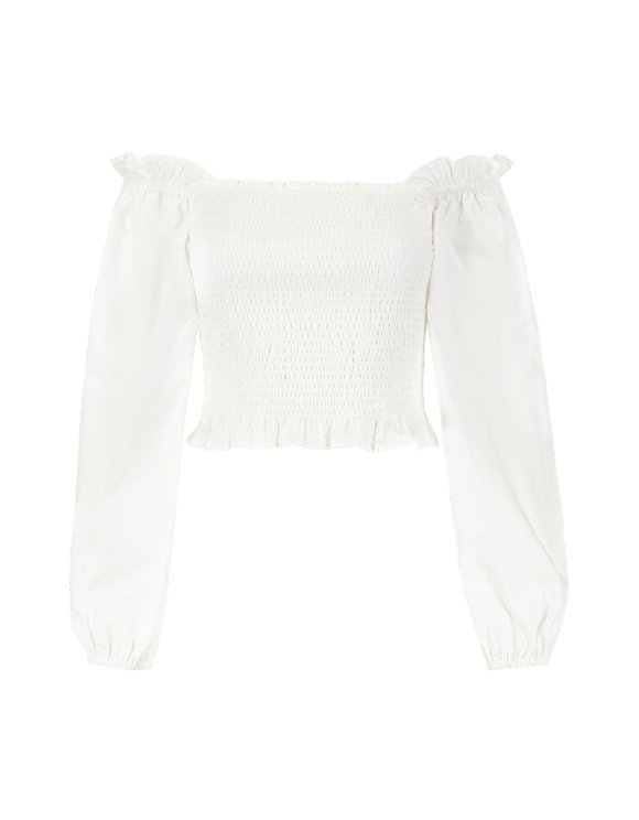 White Cropped Blouse