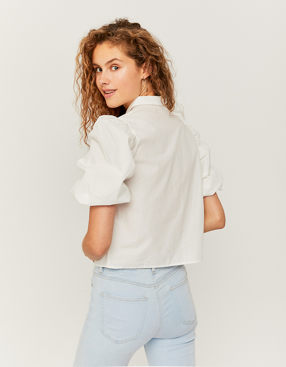 White Shirt with Balloon Sleeves