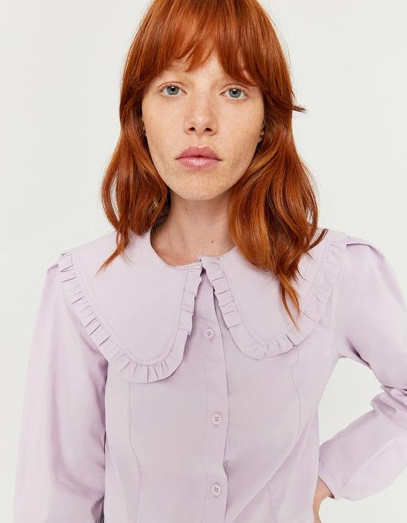 Violettes Hemd mit Peter-Pan-Kragen