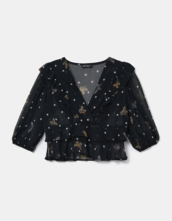 Black Printed Blouse with Ruffles