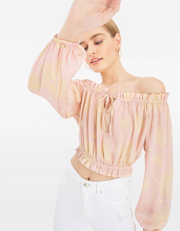 Pink Baroque Print Blouse