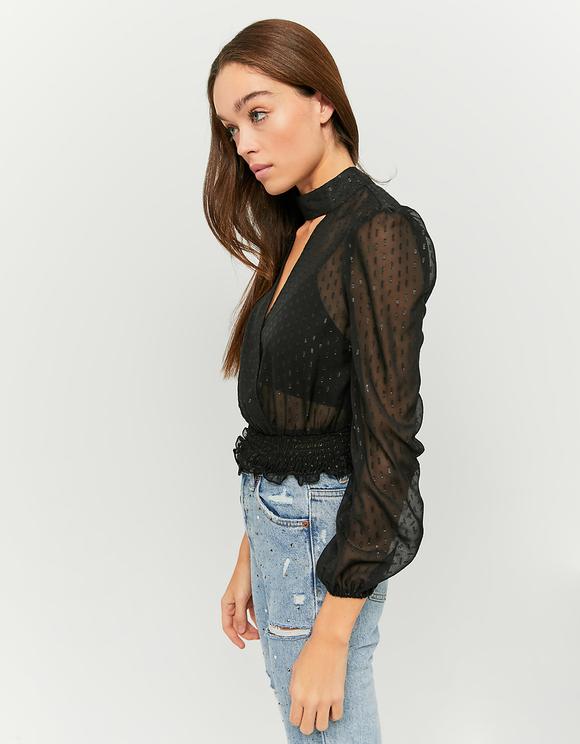 Czarna bluzka z siateczki w kropki