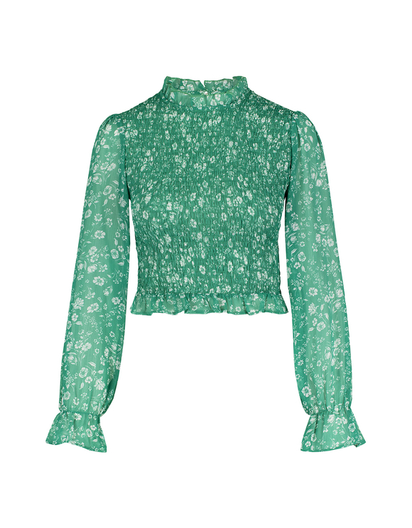 Shirred Blouse with Ruffles