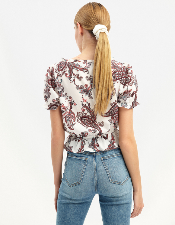 Weiße Paisley Bluse