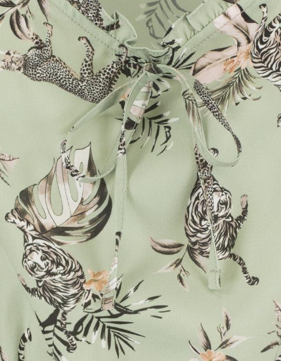 Grüne Bluse mit Tiger Print