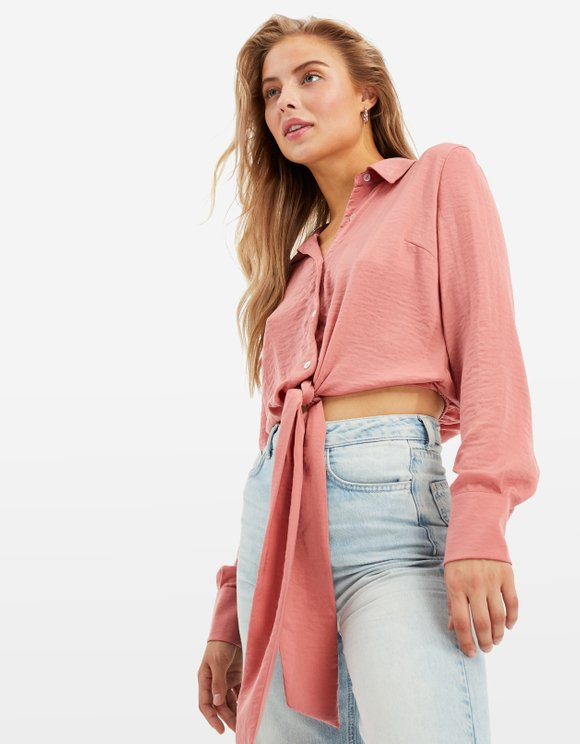 Pink Cropped Satin Shirt