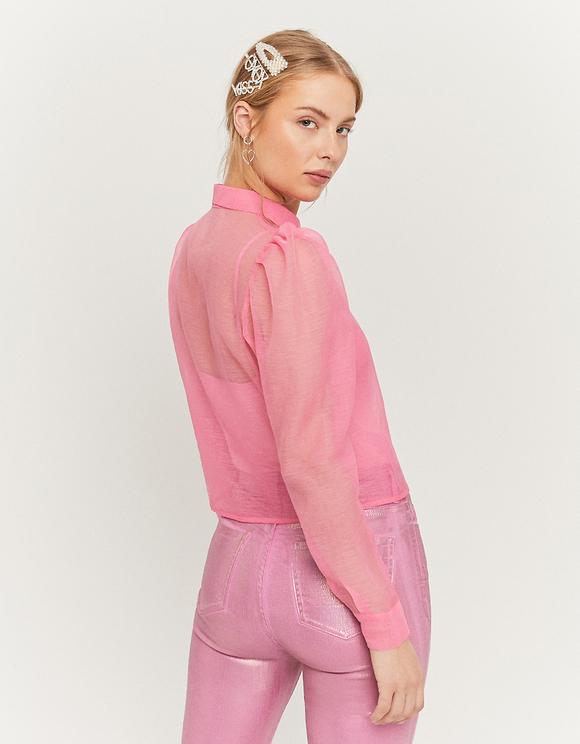 Pink Organza Shirt with Balloon Sleeves
