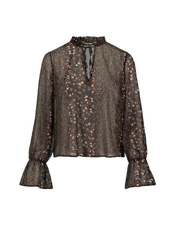 Schwarze transparente Bluse mit Aufdruck