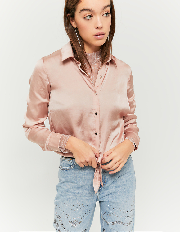 White Satin Knotted Shirt