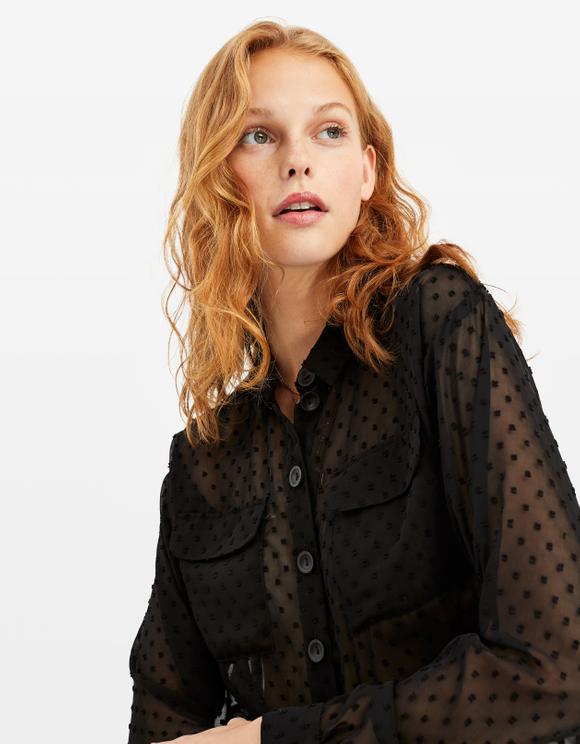 Black Polka Dots Transparent Shirt