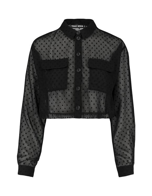 Chemise Transparente Noire à Pois