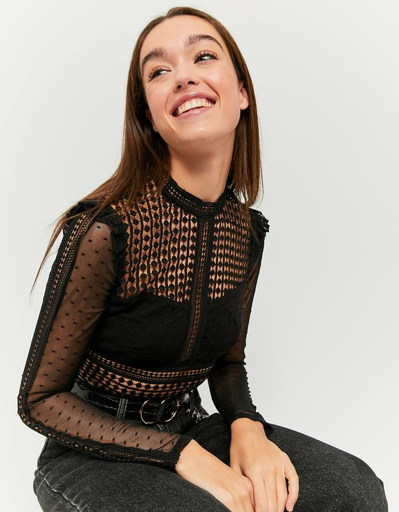 Black Transparent Zipped Blouse