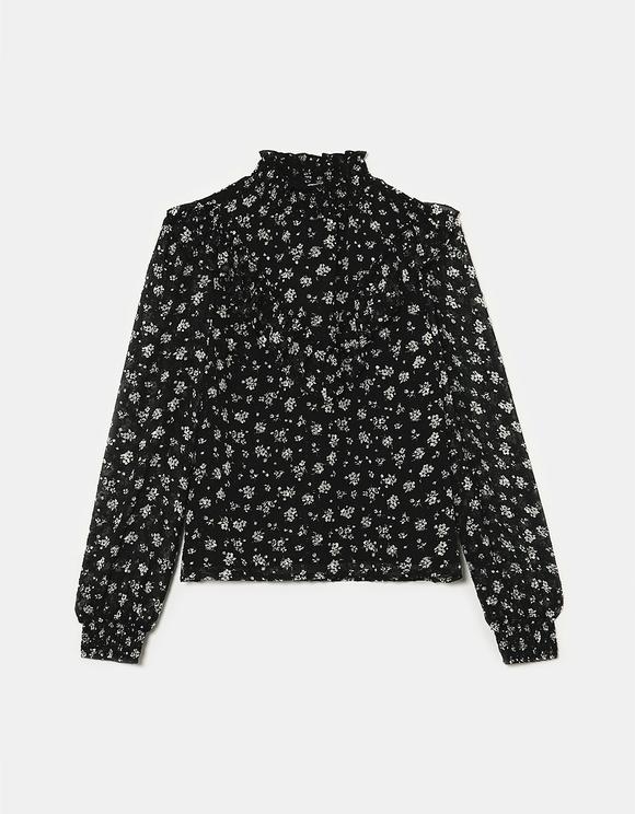 Camicia Nera a Fiori Romantica