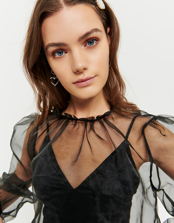 Black Transparent Organza Top