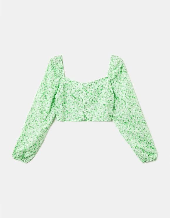 Grüne Bluse mit Aufdruck